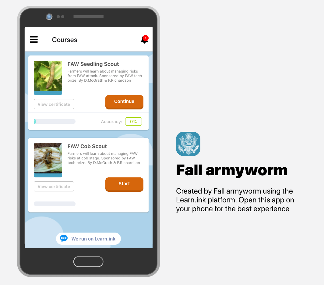 Two Free Fall Armyworm mobile training for farmers are available