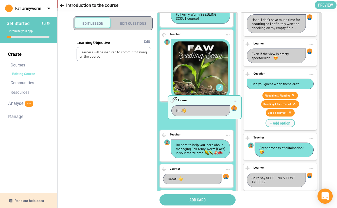 Edit the free Fall Armyworm mobile training in the course editor on learn.ink